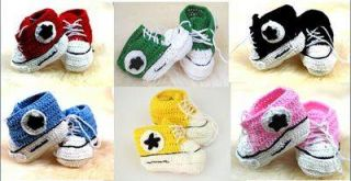 Handmade Crocheted Girls Boys Baby Booties Crib Shoes Hi Top Trainers Stunning
