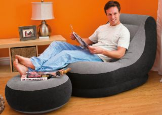 Intex Ultra Lounge Heavy Duty Inflatable Relaxing Chair Dorm Seat Sofa Ottoman