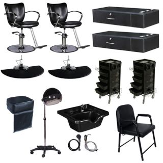 Salon Station Styling Chair Shampoo Bowl Dryer Trolley Package DP 100D