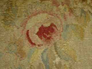 Antique French Woven Tapestry Aubusson Chair Panel Figure Roses Flora c1830 A F