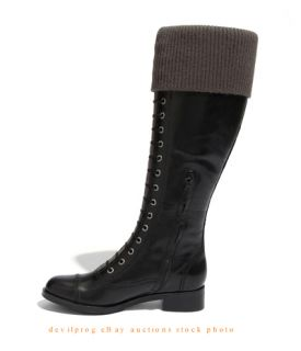 New Cole Haan Air Whitley Laces Knit Cuff Black Leather Knee High Boot US 6 5 B