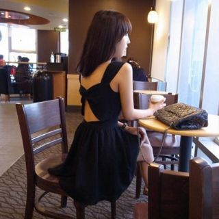 Womens Korean Fashion Cross Hollow Back Sleeveless Sexy Mini Dress Black E929TL