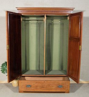Antique English Mahogany Sectional Armoire Wardrobe Closet w Mirror c1905 H38A