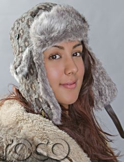 Girls Trapper Hat Brown Leopard Print Ski Outdoor Winter Hat