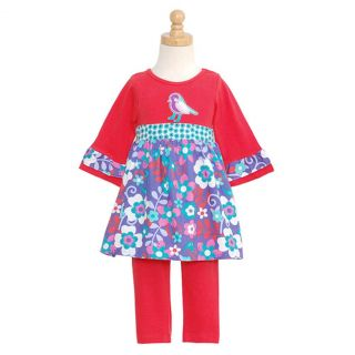 RARE Editions Baby Girls 24M Red Floral Bird Flared Sleeves Outfit