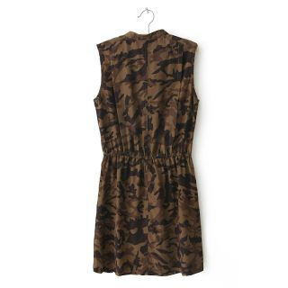 New Womens European Fashion Camouflage Crewneck Sleeveless Mini Dress B2274
