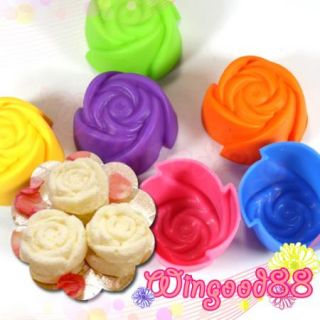 12pcs Tiny Rose Shape Silicone Party Cupcake Cake Mold Muffin Chocolate Mould