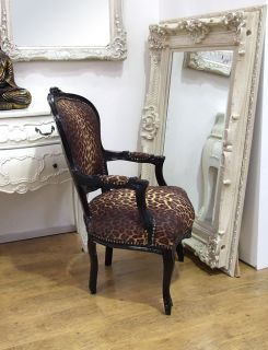 Louis French Shabby Chic Lounge Dining Chair Leopard Print Fabric Black Frame