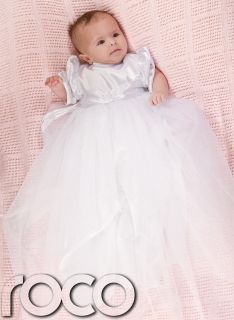Baby Girls White Ivory Satin Christening Gown Cheap Baptism Dress Bonnet 0 12M