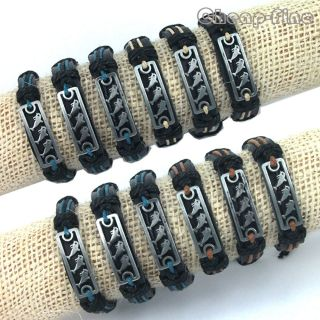 Wholesale 12pcs Silver Tone Three Dolphin Pattern Genuine Leather Hemp Bracelets
