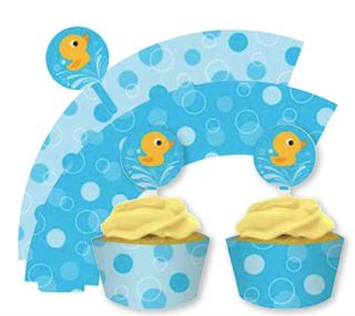 Lil Quack Baby Shower Party Tableware x12 Cupcake Wrappers Picks Rubber Duck
