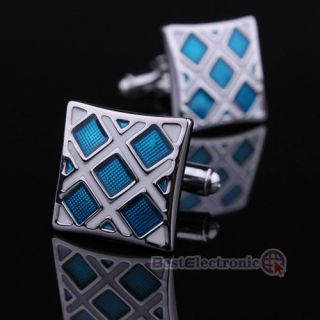 New High Quality Men`s Party Square Shape Blue Checked Grid Cufflinks Cuff Links