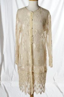 Sue Wong Ivory Mesh Lace Sheer Long Sleeve Overcoat Dress Velvet Bohemian Large