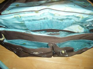George Baby Boom Brown Aqua Magnetic Closure Carry All Diaper Bag Changing Pad
