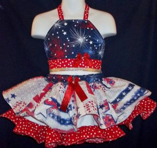 Custom National Patriotic Glitz Pageant Casual Wear 3T 4T