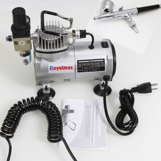 Single Cylinder Piston Mini Air Compressor 0 3mm Dual Action Airbrush Spray Gun