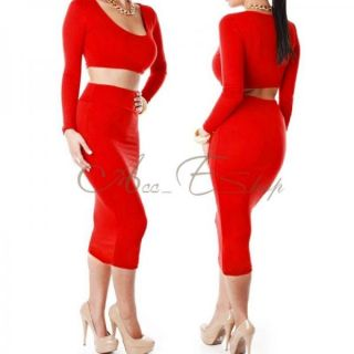 Womens Cocktail Clubwear Party High Waisted Long Sleeve Bodycon Bandage Dress M