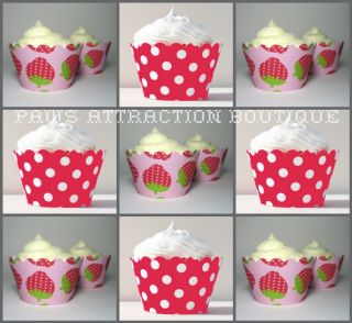 12 Pink Strawberry Berries Cupcake Wrapper Decorative Polka Dot Shortcake Wrap