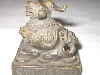 Antique Chinese Bronze Foo Dog Art Statue Sculpture Desk Office Paperweight Tool