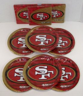 San Francisco 49ers NFL Party Set 48 Paper Dinner Plates Lunch Napkins Hallmark