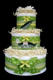 Sweet Pea Neutral Diaper Cake Baby Shower Centerpiece