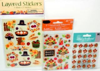 Lot 3 Sets Thanksgiving Stickers 67 Autumn Fall Leaves Turkey Scrapbook Cards