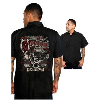 Steady Clothing Rods N Broads Work Shirt Rockabilly Tattoo Kustom Kulture Punk