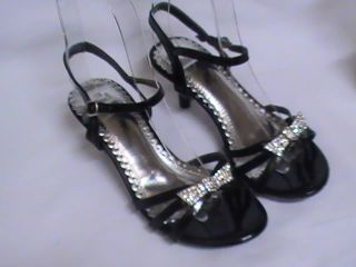 Girls Black Dress Shoes Pageant Heels T 28 YT Sz 10