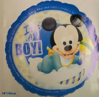 "Foil Mylar Balloon 18"" It's A Boy Baby Blue Mickey Mouse Rattle"