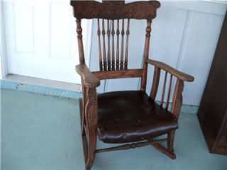 Antique Victorian Oak Art Nouveau Wood Rocking Chair Nursery Porch Rocker Fancy