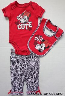 Minnie Mouse Baby Infant Girls 0 3 6 9 Months Outfit Set Shirt Pants Bib Disney