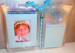 Adorable Girls Sparkling Baby Blue Boxed Gift Set Frame Notepad Pen Clip