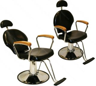 2 All Purpose Hydraulic Reclining Barber Chair Natural Oak Arms Salon Equipment