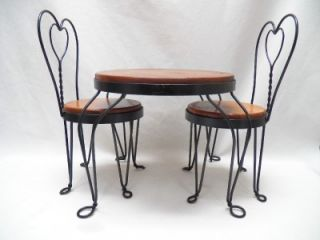 Vintage Wood Metal Ice Cream Parlor Set Table 2 Chairs for Doll Teddy Bear