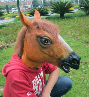 Horse Head Mask Realistic Animal Party Halloween Costume Prop Latex Rubber Toys