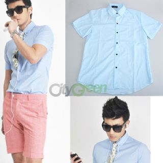 New Mens Casual Short Sleeves Dress Shirts Size XXL 4 Colors Wedding Work Party