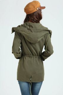 New Women Casual Hoodie Drawstring Army Green Jacket Military Hooded Trench Coat