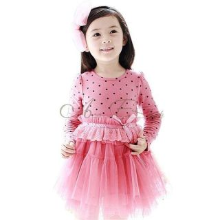 Girl Kid Polka Dots Long Sleeve Party Tulle Dress High Waist Lace Bowknot Sz 3 7