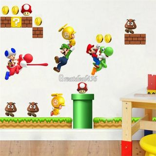 Super Mario Bros PVC Removable Wall Sticker Home Decor for Kids Children Room
