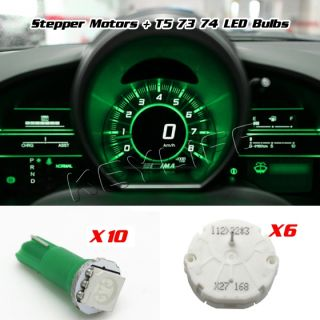 6 GM Stepper Motor x27 168 Instrument Cluster Chevy Buick Pontiac 10 Bulb Green