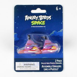 Rovio Angry Birds Space Assemble Puzzle Erasers 2pk Purple Lazer Bird Licensed