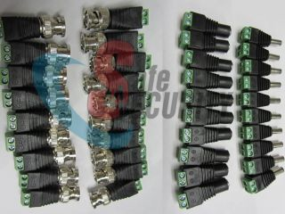 10sets CAT5 to BNC Coaxial Video Balun Plus 2 1mm Male Female DC Power Connector