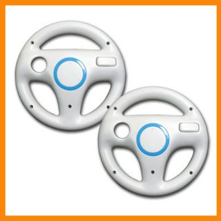 2 Pcs White Mario Kart Racing Steering Wheel for Nintendo Wii Remote New