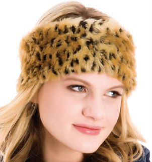 Ladies Soft Faux Fur Leopard Print Headband Ear Warmers BNWT
