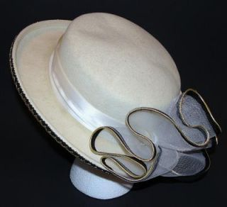 Vintage Kentucky Derby Dress Hat Women's Ivory Cream Black Gold Wool Ribbon