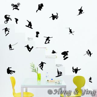 Extreme Sports 21 Pieces Wall Decal Vinyl Sticker Decal Art Mural Removable Kids