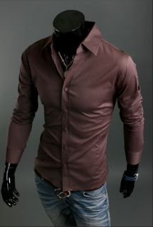 New Mens Luxury Stylish Casual Dress Slim Fit Shirts 10 Color 4 Size U s Seller