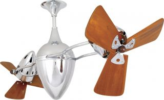 "Matthews AR CR WD AR Ruthiane Chrome Dual 46"" Ceiling Fan with Wall Control"