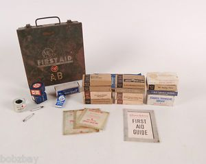 Medical Supply MS Co Vintage First Aid Kit WWII Supplies Johnson Red Cross 1940s