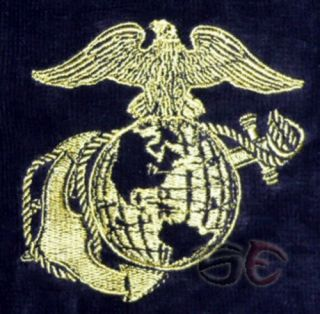 USMC United States Marine Corps Golf Towel Embroidered Cotton Black w Bag Clip
